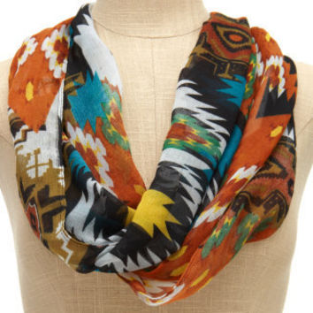 Charlotte Russe - Southwest Print Frayed Scarf