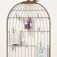 Large Wire Birdcage Photo/Letter Holder