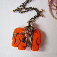 Orange Howlite Elephant Pendant wire wrap by SandstarJewelry
