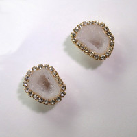 Tabasco Geode Stud Earrings Geode White Slice Earrings Diamond Look Bezel Stud Earrings14kt Gold Fill - Trista