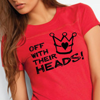 Alice in Wonderland Off With Their Heads Red Womens by BRANDED