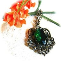 Victorian Revival Filigree Pendant Emerald Green Faceted Glass Setting