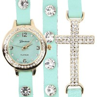 Mint Gold Cross Wrap Watch and Shop Accessories at MakeMeChic.com