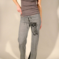 Owl Women's  Eco Grey Screen Printed Pant