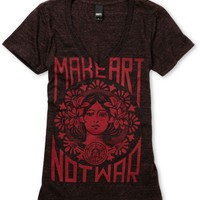 Obey Girls Make Art Not War Dark Red Heather V-Neck Tee Shirt at Zumiez : PDP