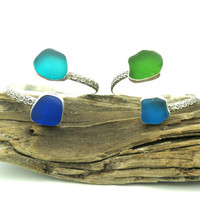 Sea Glass Lei Cuff Bracelet