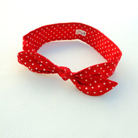 The Hyannis Port Headband red w/ white polka dot headband inspired by Taylor Swift and vintage fashion