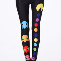ROMWE | &quot;Pac-Man&quot; Black Leggings, The Latest Street Fashion