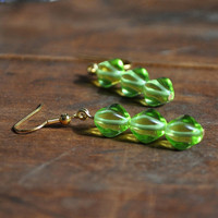 Glass Peridot Green Dangle Earring by TatumBradleyCo on Etsy