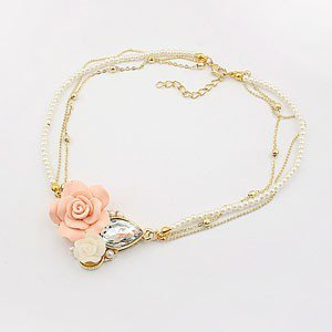 Fashion Flower&Pearl Bib Necklace at Online Jewelry Store Gofavor