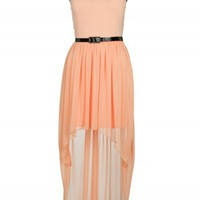 Peach Lace Top Mixi Dress