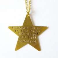 Second Star to the Right Necklace Peter Pan Quote Necklace Gold Star Necklace Handstamped Necklace Handstamped Jewelry Hand Stamped Necklace