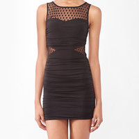 Ruched Dotted Mesh Dress | FOREVER 21 - 2000046428
