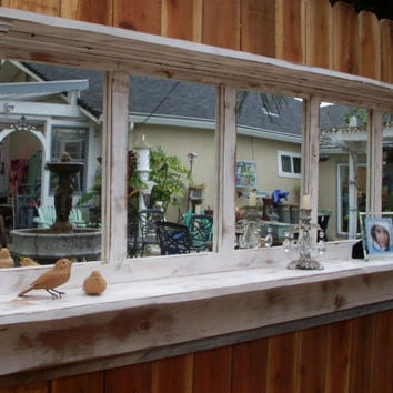 Wood Mirror Shelf Shabby Cottage Chic Large by honeystreasures