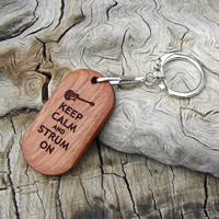 Handmade Laser Engraved Wooden Key Chain or Key Ring - Sapele Wood - Strum On