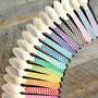 Small Wooden Spoons with Chevron - PICK YOUR COLORS - Eco-friendly Cupcake Spoons, Ice Cream Spoons (set of 18)