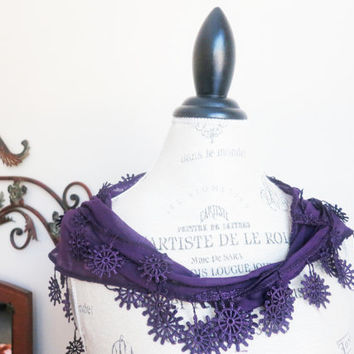 Ship from USPurple Vivid Violet Floral Lace by SistersLace on Etsy