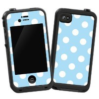 White Polkadot on Baby Blue &amp;quot;Protective Decal Skin&amp;quot; for LifeProof 4/4S Case: Cell Phones &amp; Accessories
