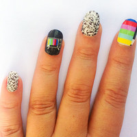 Nail Decals Color Block Test Screen and Static Tv by IHeartNailArt