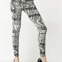 Stella Elyse Sketchy Tribal Black and White Cotton Leggings (Large/X-Large): Clothing