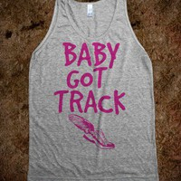 Baby got track-Unisex Athletic Grey Tank