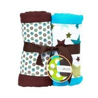Amazon.com: Baby Boy Burp Cloths Set of 2- Blue & Brown Stars & Dots: Baby