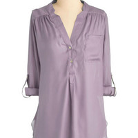 Pam Breeze-ly Tunic in Lilac | Mod Retro Vintage Short Sleeve Shirts | ModCloth.com