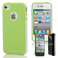 Green 2-Piece Hybrid Hard Case Cover Skin For iPhone 4 4S 4G w/ Screen Protector