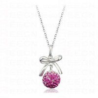 Silver Bowknot And Rose Red Globe Diamond Pendant