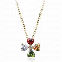 Multicolor Shamrock With Heart Swarovski Crystal Pendant