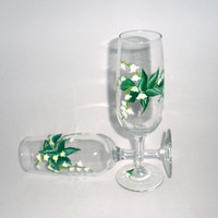 Hand painted Wine Glasses White Lilies of by PaintedDesignsByLona