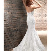 Maggie Sottero Spring 2013 - Lavina Ivory Chic Organza &amp; Lace Motif - Unique Vintage - Prom dresses, retro dresses, retro swimsuits.