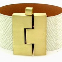 Leighelena Wide jigsaw buckle bracelet in bone lizard at Carolina Boutique in downtown Mill Valley