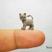 Tiny Gray Cat Kitten  Micro Miniature Crocheted Kitten by SuAmi