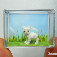Cute White Cat Kitten  Tiny Crocheted Kitten House Cat  by SuAmi