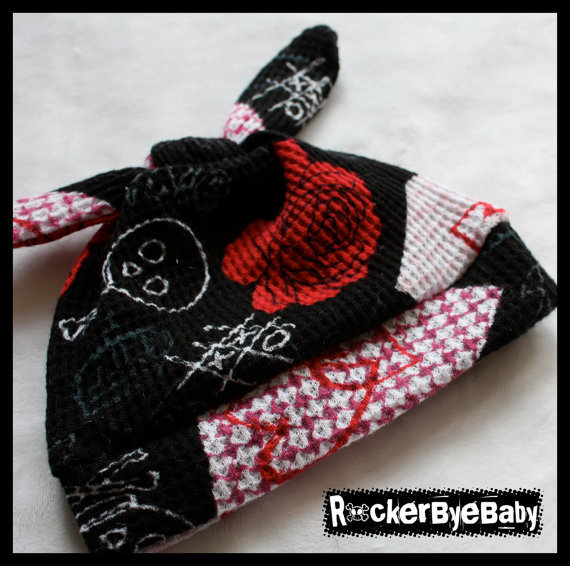 RockerByeBeanies Newborn Baby girl knit skull cap by RockerByeBaby