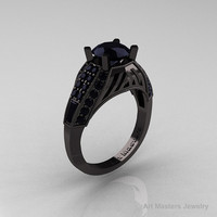 Aztec Edwardian 14K Black Gold 1.0 CT Black Diamond Engagement Ring R001-14KBGBD