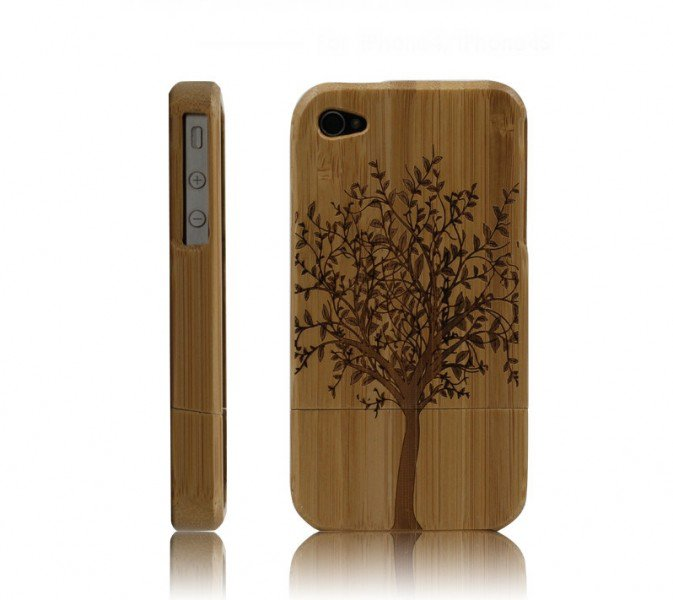 Handcarved Eco-friendly Bamboo iPhone 4 & 4s Cases- A Big Tree