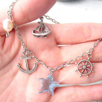 Sea Charm Bracelet Nautical Jewelry Anchor Bracelet by pearlatplay