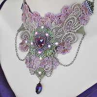 Purple Victorian Choker, Venice Lace Choker, Bridal Choker Lace Necklace, Lace Jewelry, Victorian Jewelry