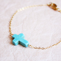 sideways cross bracelet  pop of color and gold chain door PetiteCo