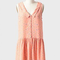 floral fields collared dress in peach at ShopRuche.com