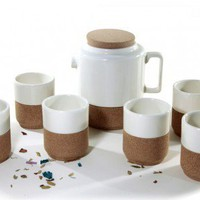 Cork Whistler White Tea Pot + 6 cups set