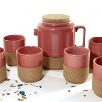 Cork Whistler Red Tea Pot+ 6 cups set