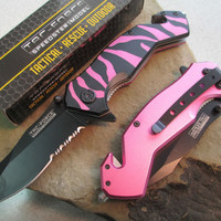 "8"" Tac Force Spring Assisted Knife Pink Wild Leopard TF-714BPK zix"