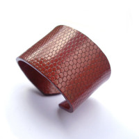 Snake skin cuff modern bracelet brown  by JPwithLove