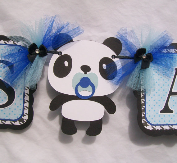 panda baby shower banner its a boy from nancysbannerboutique on
