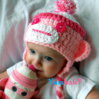 Baby Hats Sock Monkey Hat Pink Monkey Hats Handmade Baby Cap Girl Clothes Baby Hats