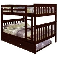 Amazon.com: Bunk Bed Full over Full with Trundle in Cappuccino: Furniture &amp; Decor
