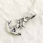 "Sterling Silver Dainty Anchor Necklace, 16"": Jewelry"